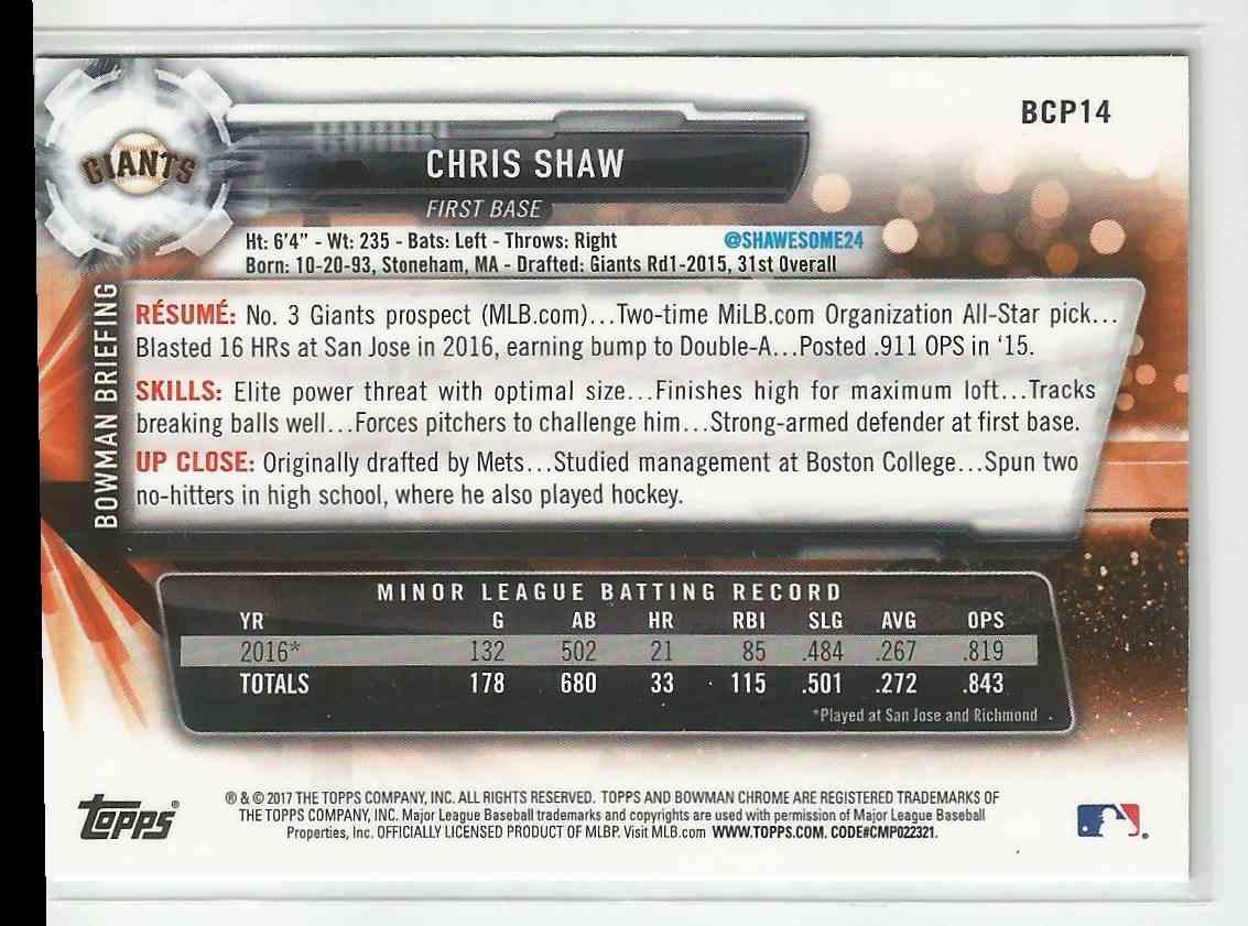 2017 Bowman Chrome Chris Shaw #BCP14 card back image