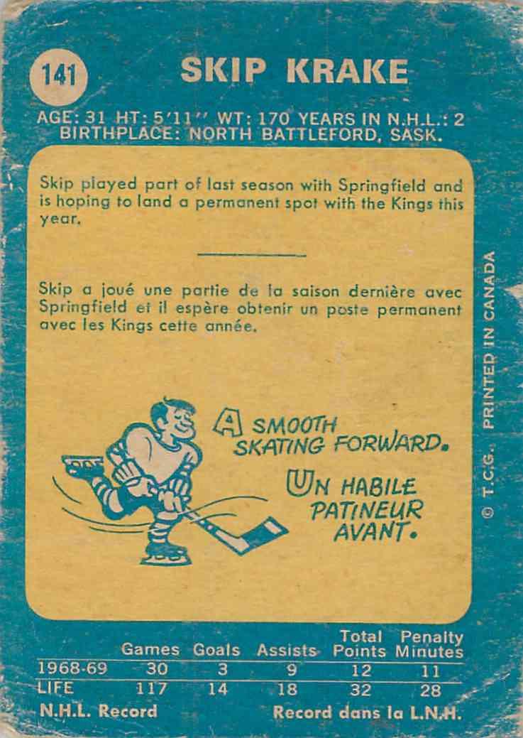 1969-70 O-Pee-Chee Skip Krake #141 card back image