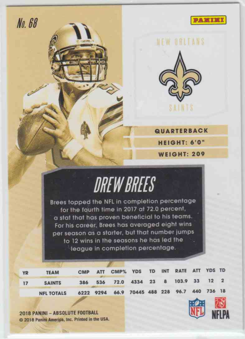 2018 Panini Absolute Spectrum Green Drew Brees #68 card back image