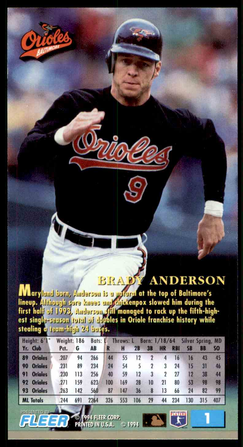 1994 Fleer Extra Bases Brady Anderson #1 card back image