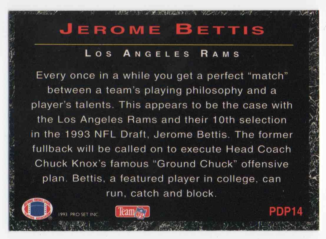 1993 Pro Set Power Power Draft Pick Jerome Bettis #14 card back image