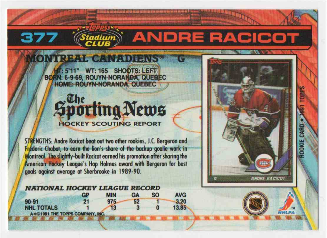 1991-92 Stadium Club Andre Racicot #377 card back image