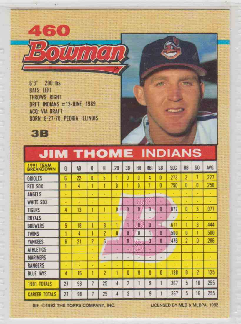 1992 Bowman Jim Thome #460 card back image