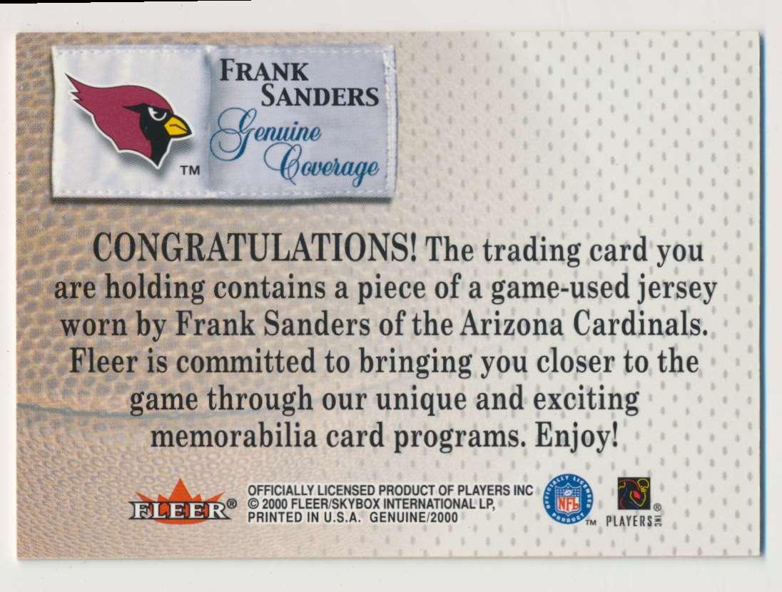 2000 Fleer Genuine Coverage Frank Sanders B card back image