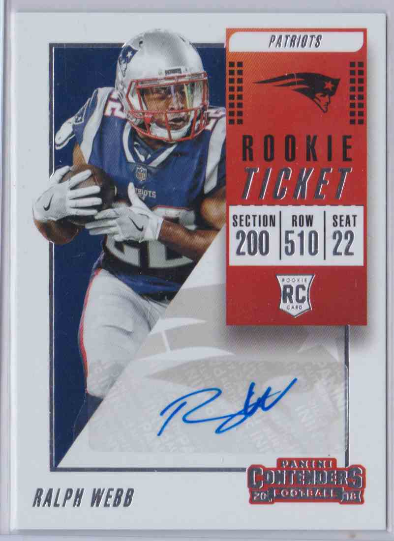 detailed look c1d75 6ce6e 2018 Contenders Rookie Ticket Ralph Webb #307A on ...