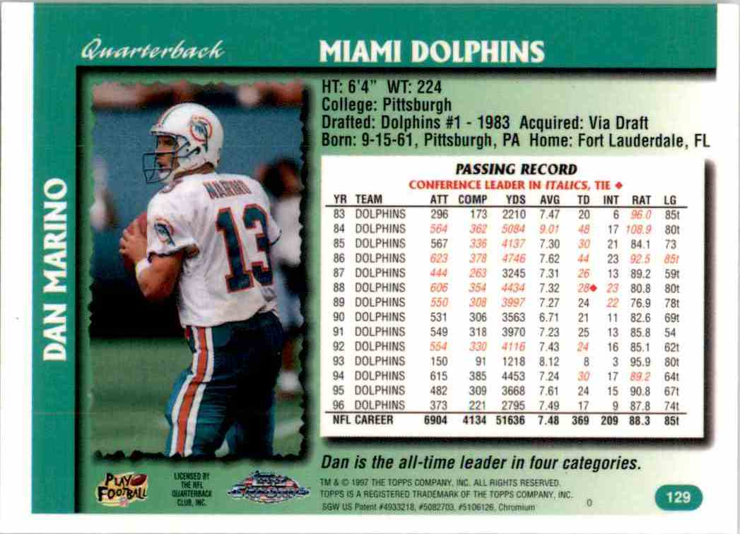 1997 Topps Chrome Dan Marino #129 card back image