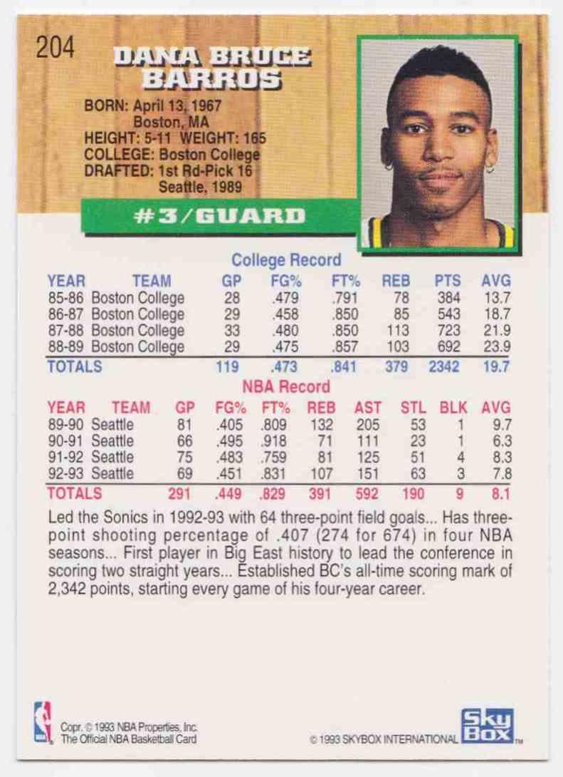 1993 94 NBA Hoops Base Dana Barros 204 on Kronozio