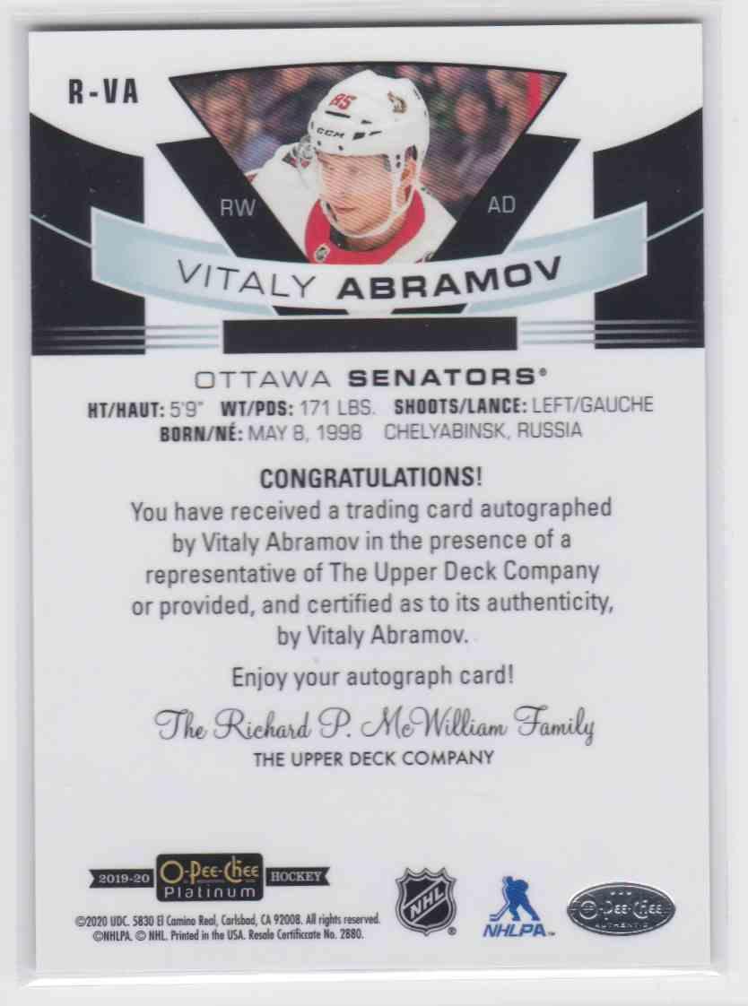 2019-20 Upper Deck Hockey O-Pee-Chee Platinum Vitaly Abramov #R-VA card back image