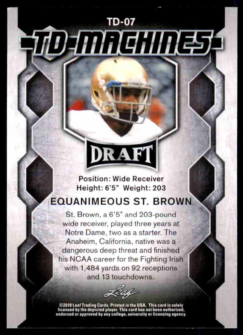 2018 Leaf Draft Equanimeous St. Brown #TD-07 card back image