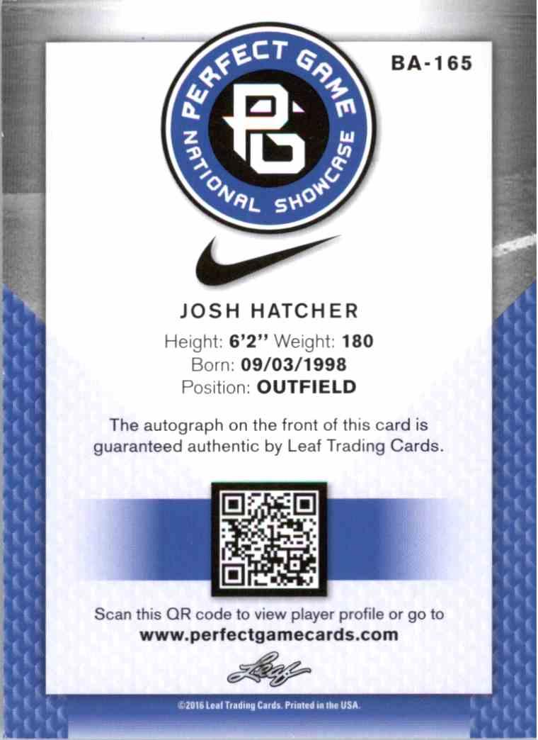 2016 Leaf Perfect Game Blue Josh Hatcher #BA-165 card back image
