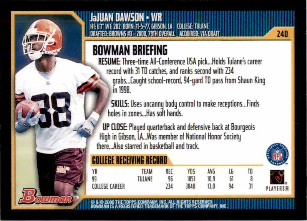 2000 Bowman JaJuan Dawson RC #240 card back image