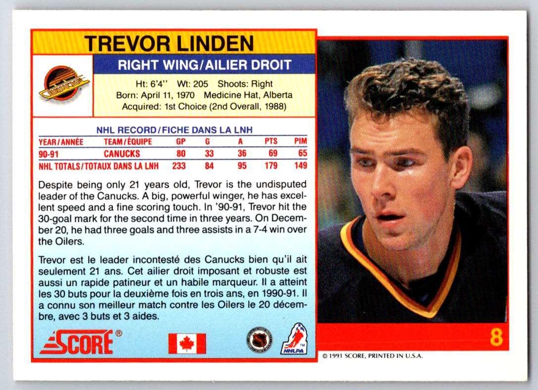 1991-92 Score Canadian Bilingual Trevor Linden #8 card back image