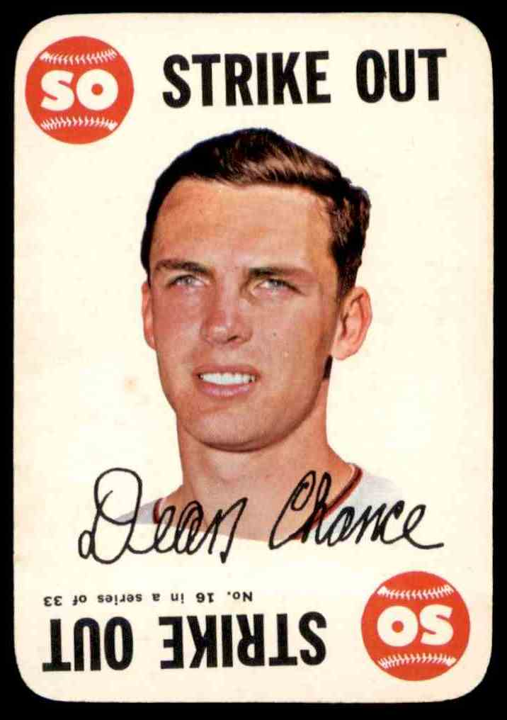 1968 Topps Game Dean Chance #16 card front image