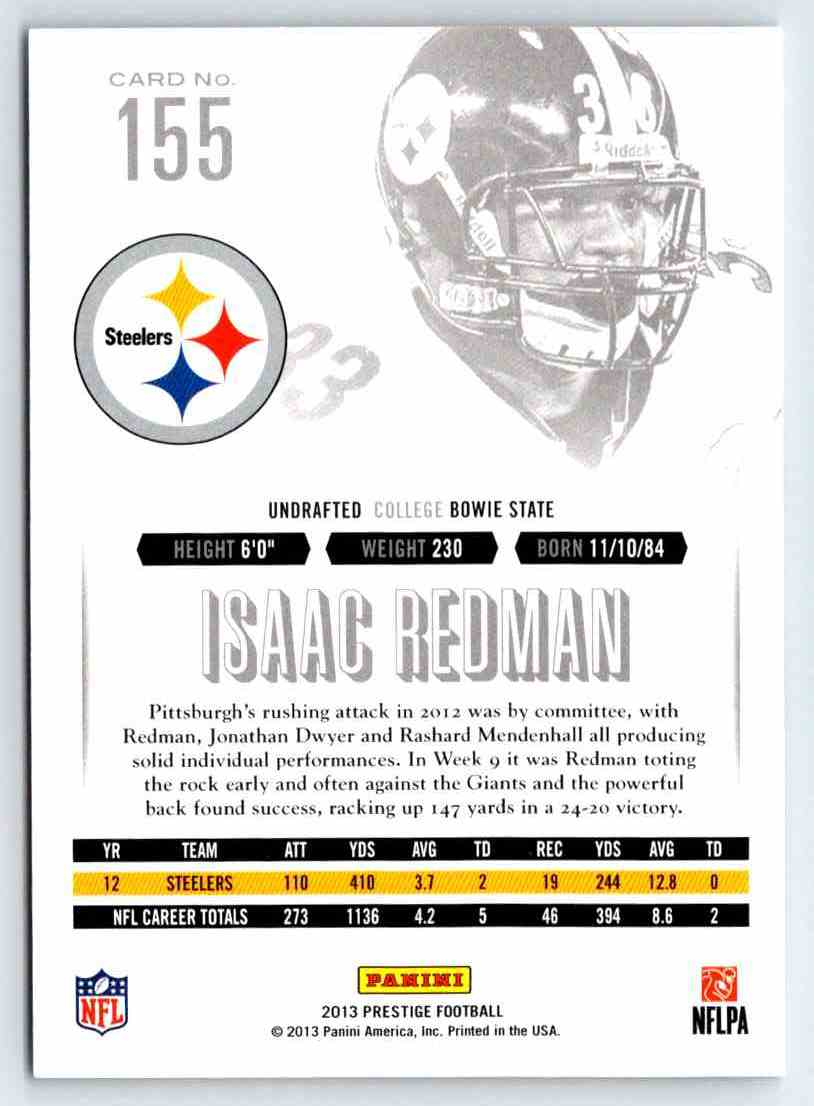 2013 Prestige Isaac Redman #155 card back image