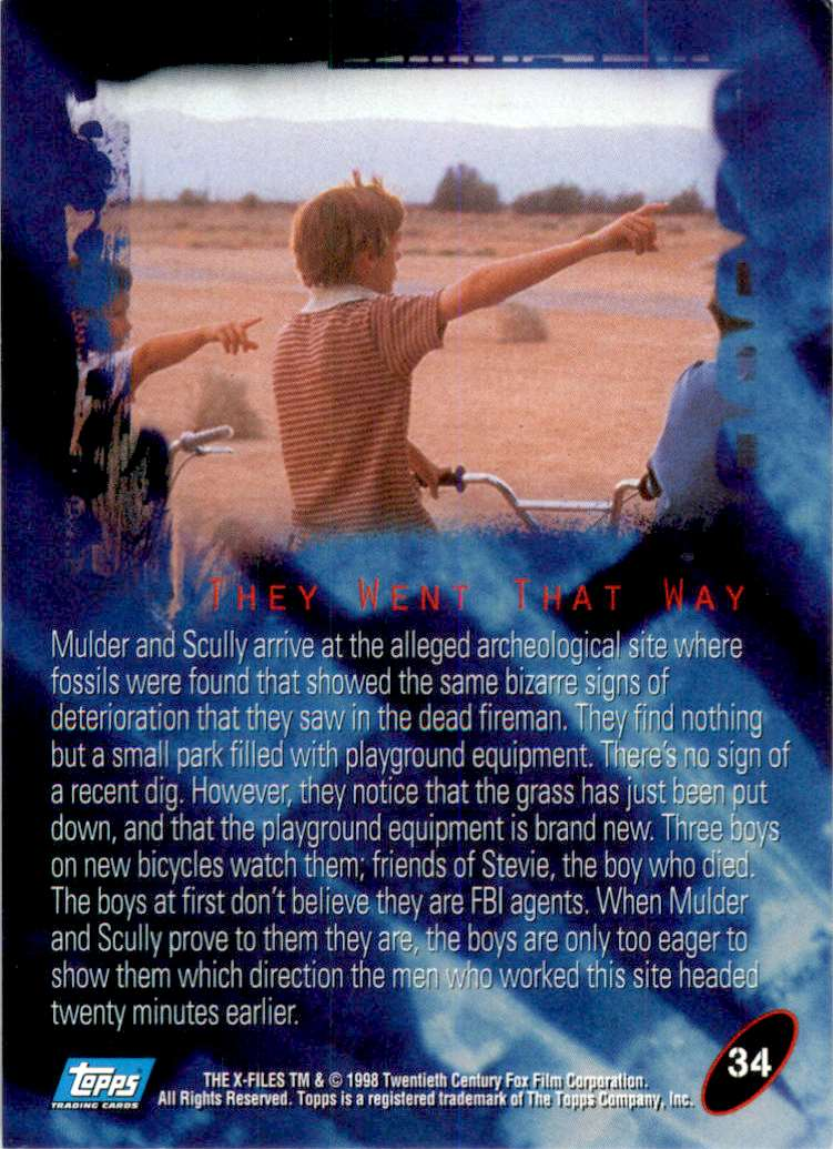 1998 X-Files Fight The Future They Went That Way #34 card back image