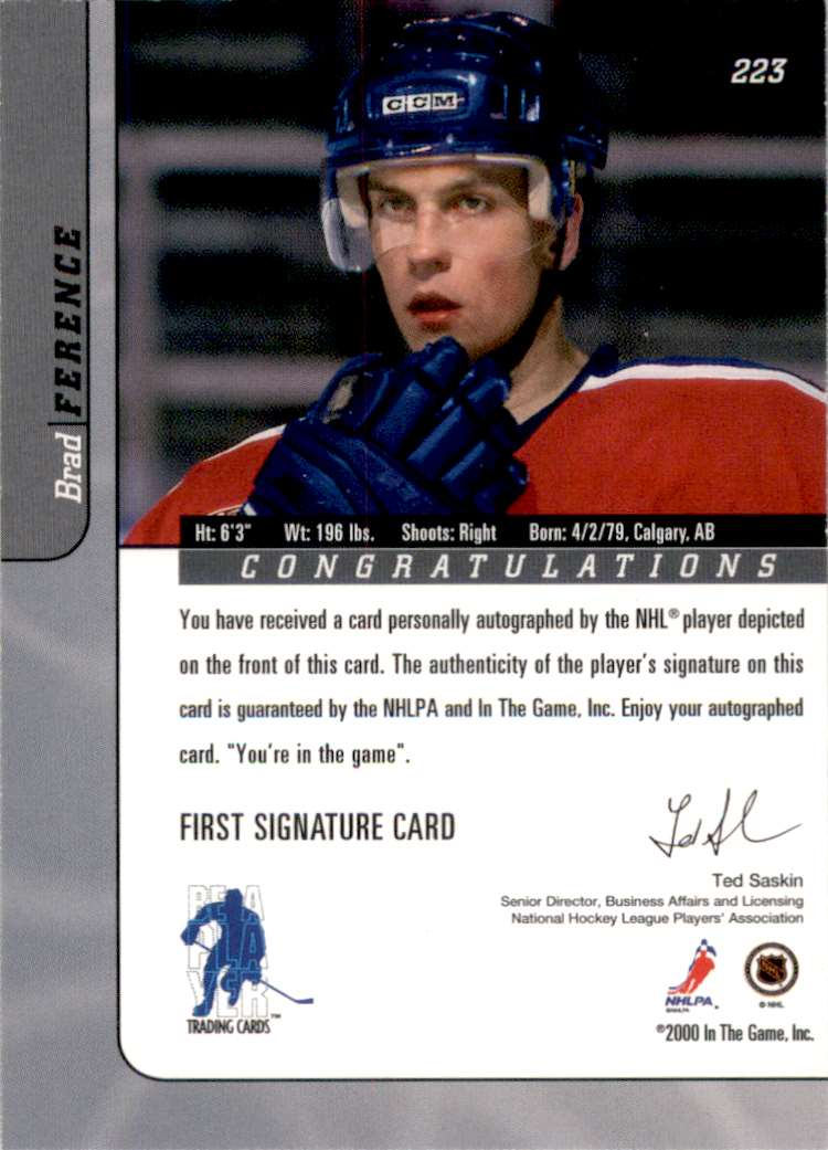 2000-01 Bap Signature Series Autographs Brad Ference #223 card back image