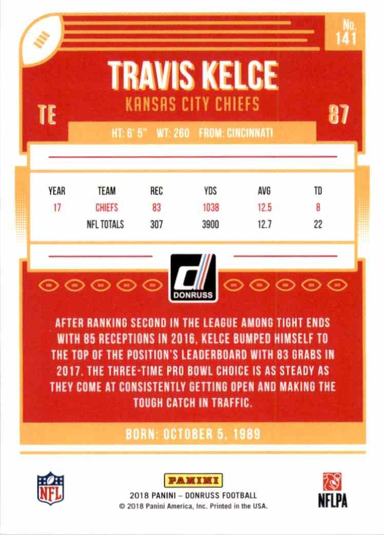 2018 Donruss Travis Kelce #141 card back image