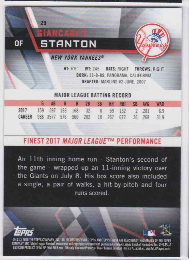 2018 Topps Finest Giancarlo Stanton #29 card back image