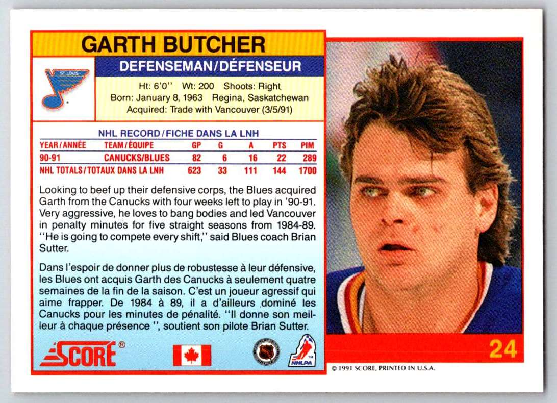 1991-92 Score Canadian Bilingual Garth Butcher #24 card back image