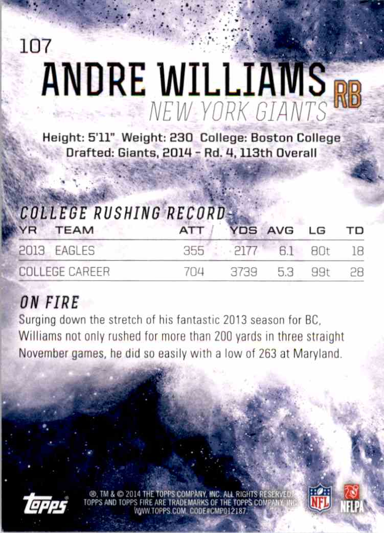 2014 Topps Fire Andre Williams RC #107 card back image