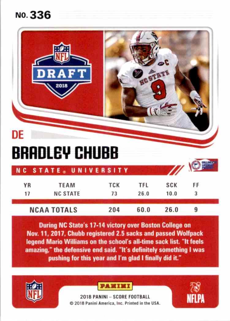 2018 Panini Score Bradley Chubb #336 card back image