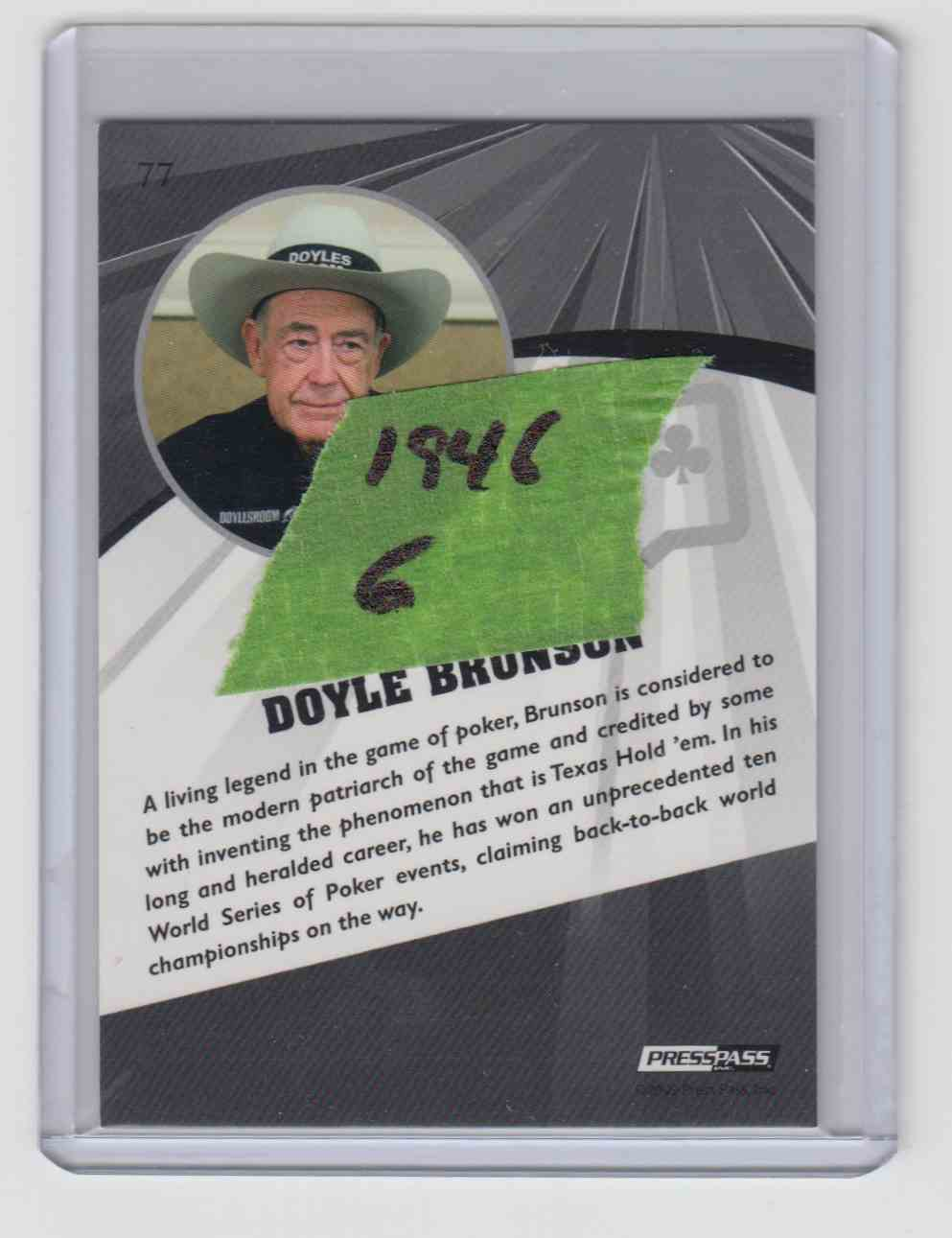 2009 Press Pass Fusion Poker Pro Silver /99 Doyle Brunson #77 card back image