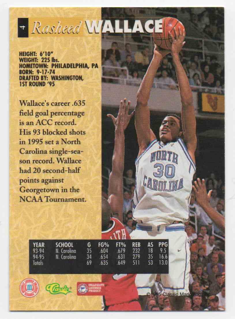 1995-96 Classic 5 Sport Rasheed Wallace #4 card back image