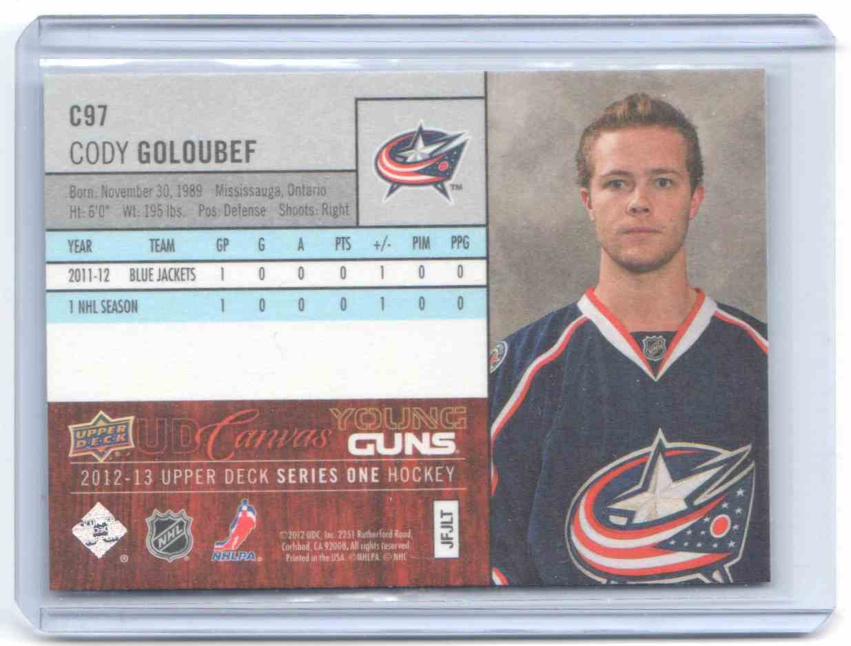 2012-13 Upper Deck Canvas Cody Goloubef #C97 card back image