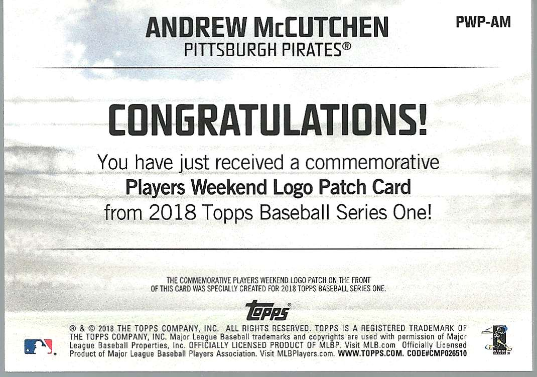 2018 Topps Players Weekend Patches Andrew McCutchen #PWP-AM card back image