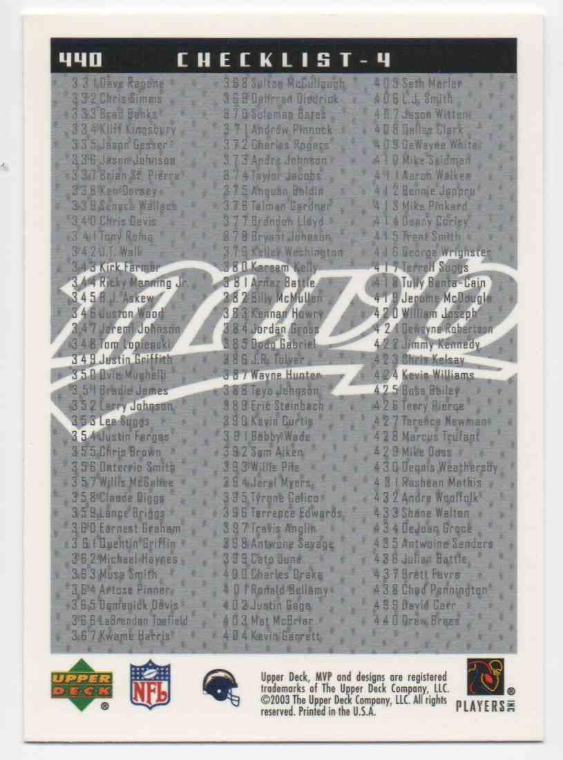 2003 Upper Deck MVP Drew Brees #440 card back image