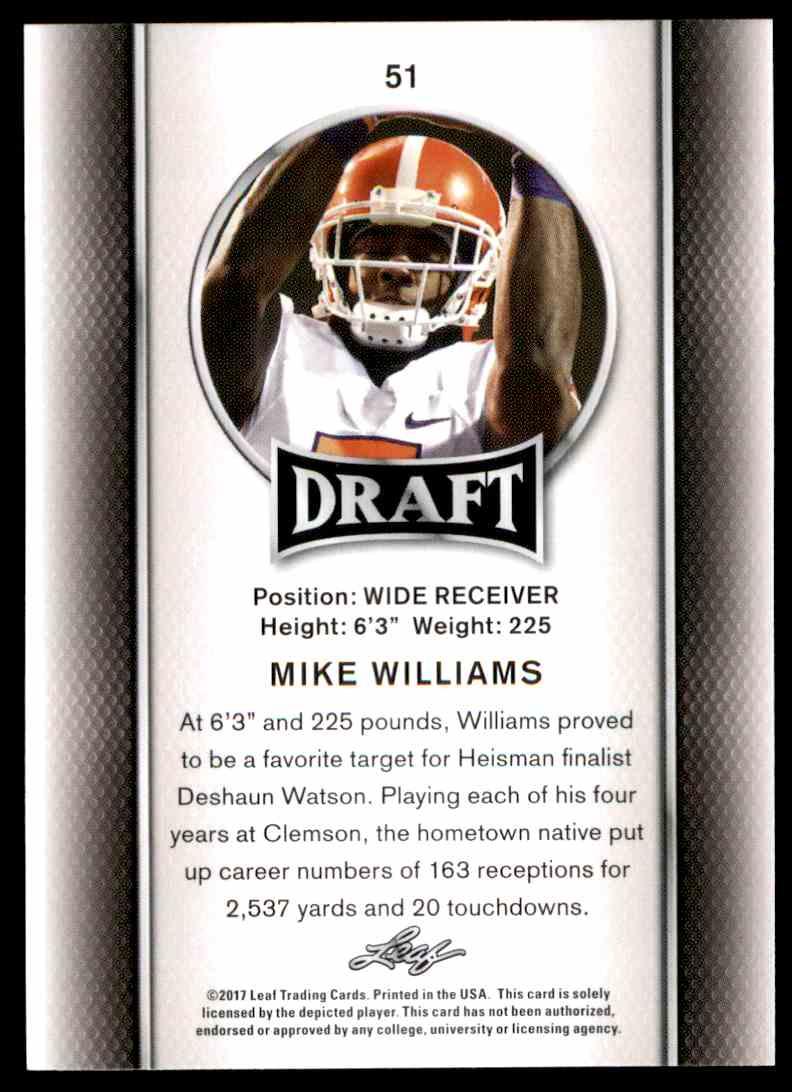 2017 Leaf Draft Mike Williams #51 card back image