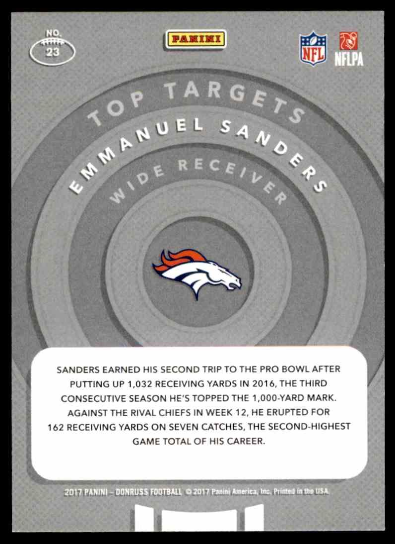 2017 Donruss Top Targets Emmanuel Sanders #23 card back image