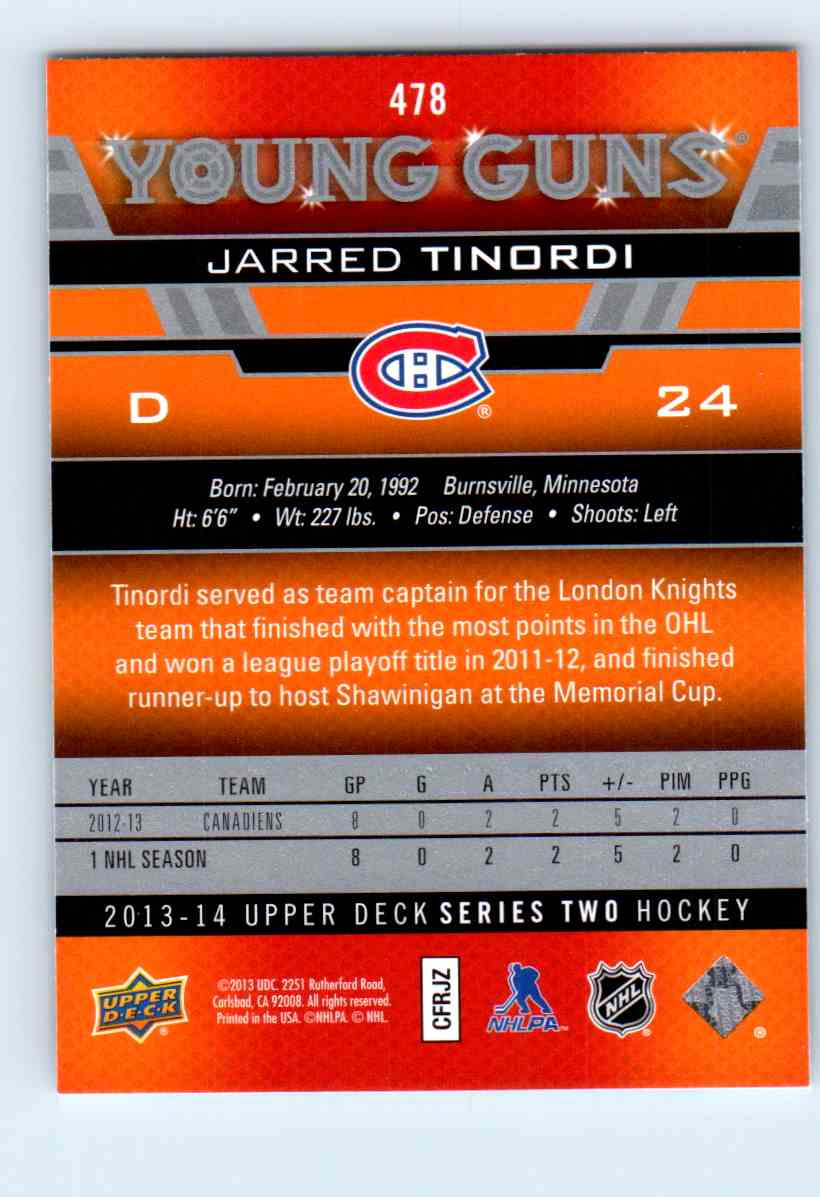2013-14 Upper Deck Young Guns Jarred Tinordi #478 card back image