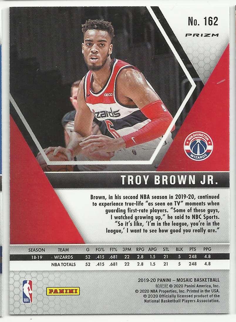 2019-20 Panini Mosaic Mosaic Pink Camo Troy Brown JR #162 card back image