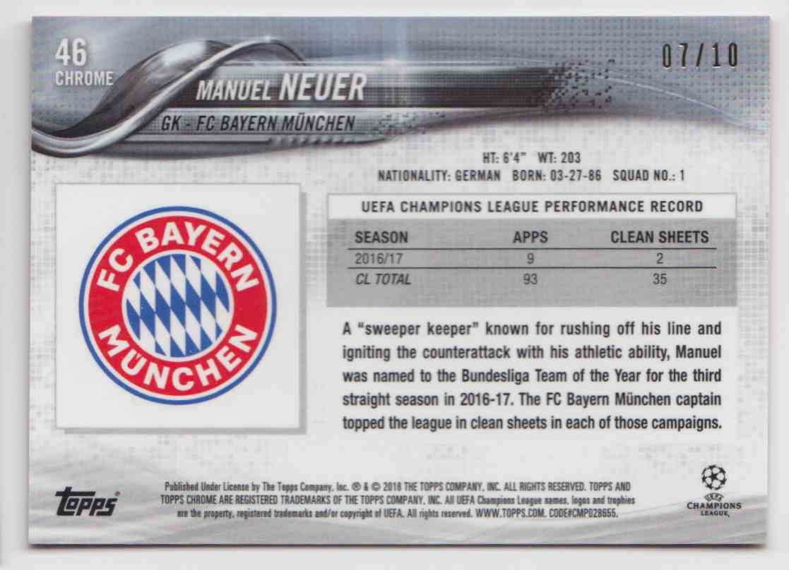 2017 Topps Chrome Champions League Red Refractor Manuel Neuer #46 card back image