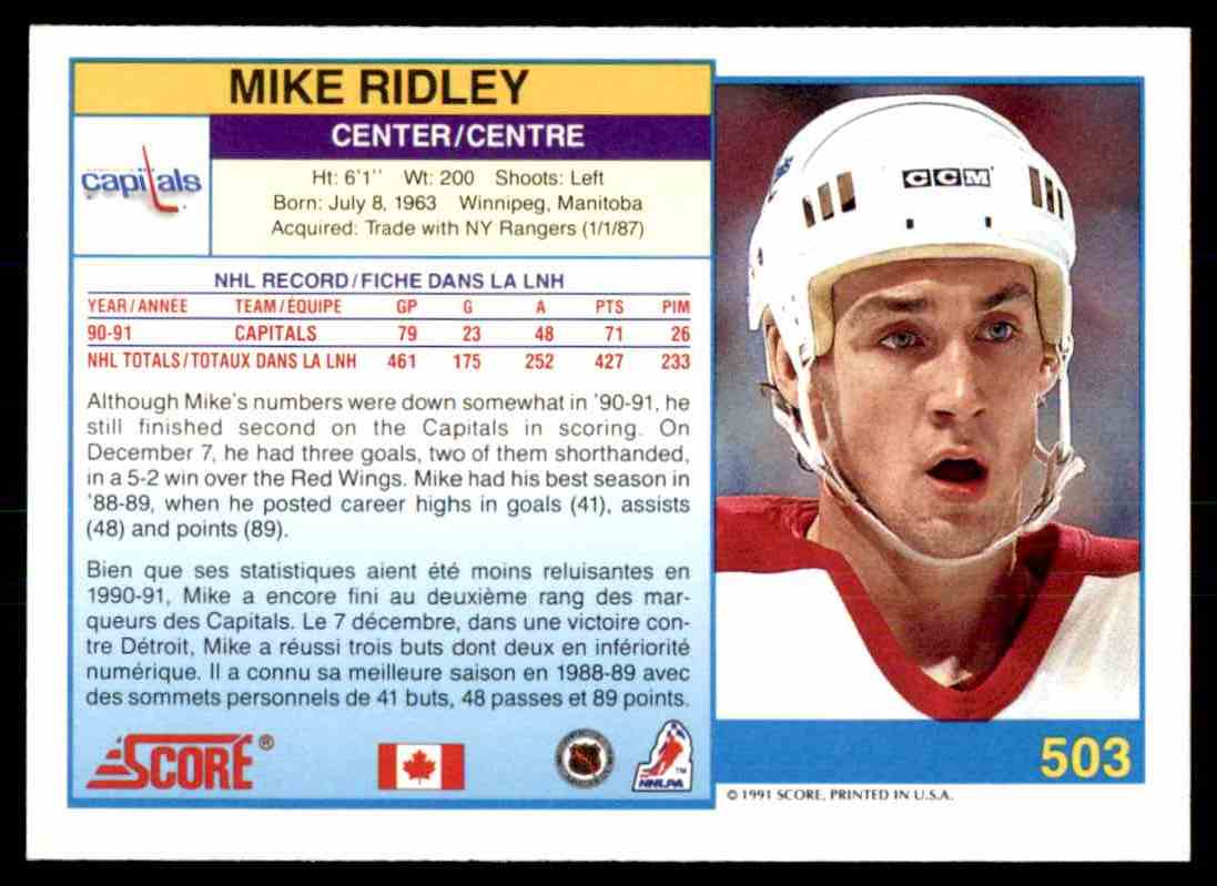 1991-92 Score Canadian Bilingual Mike Ridley #503 card back image