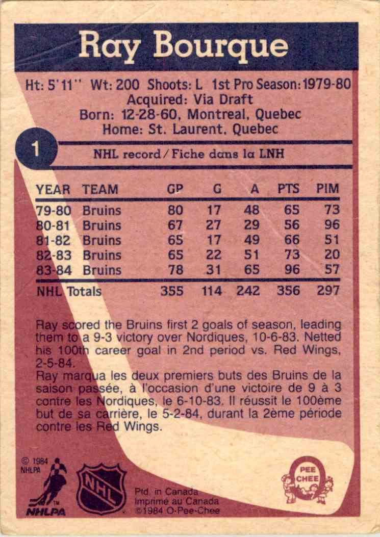 1984-85 O-Pee-Chee Ray Bourque #1 card back image