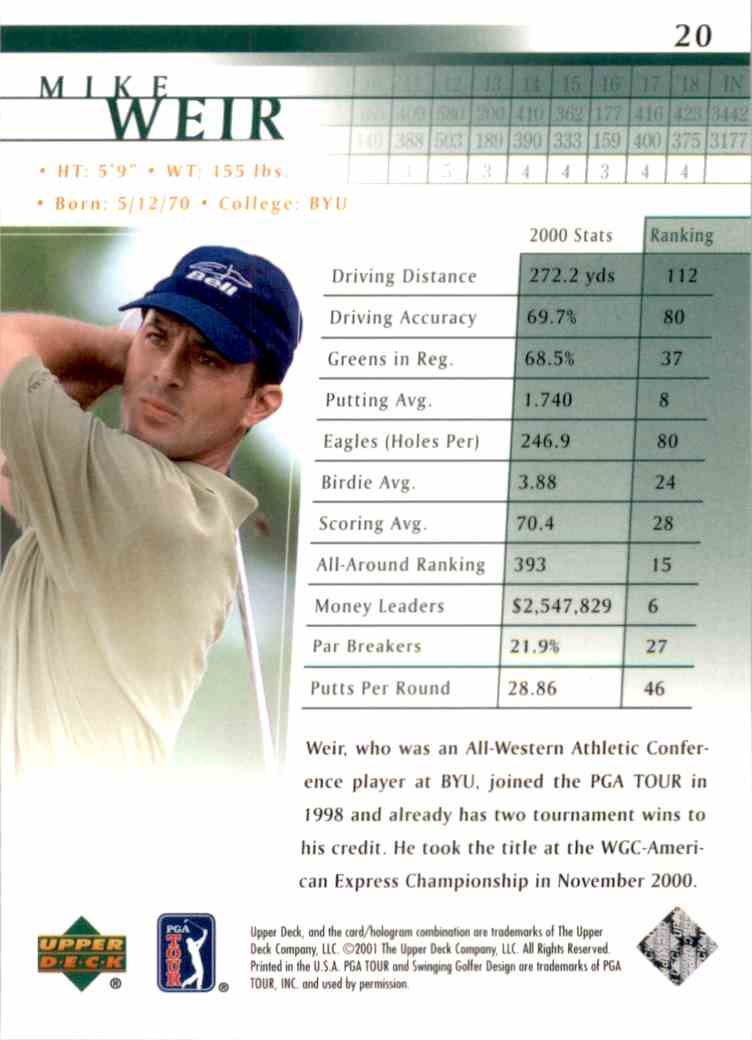 2001 Upper Deck Mike Weir RC #20 card back image