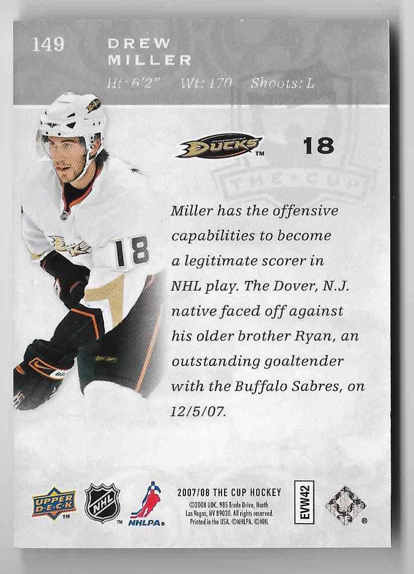 2007-08 Upper Deck The Cup Drew Miller #149 card back image