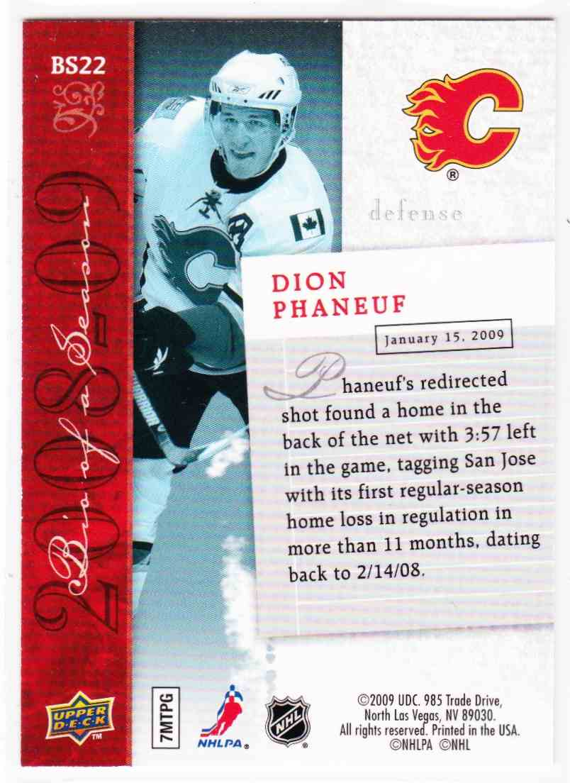 2009-10 Upper Deck Dion Phaneuf #BS22 card back image
