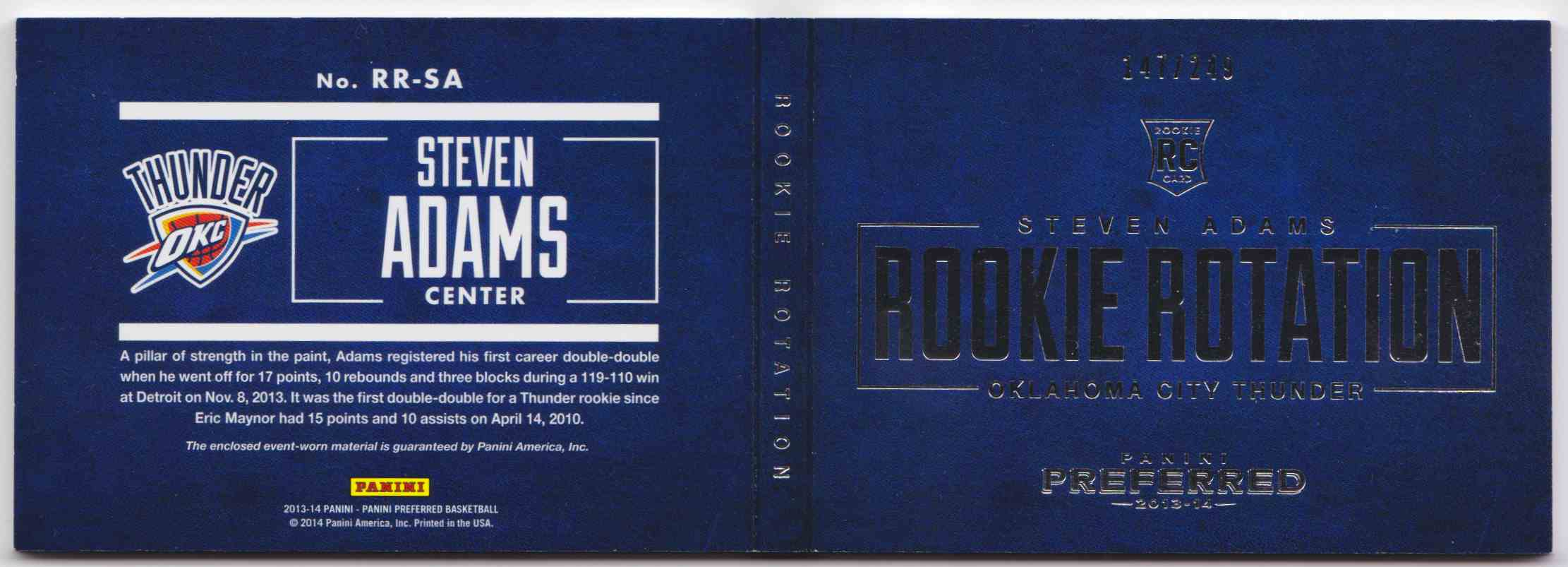 2013-14 Panini Preferred Rookie Rotation Steven Adams #RR-SA card front image