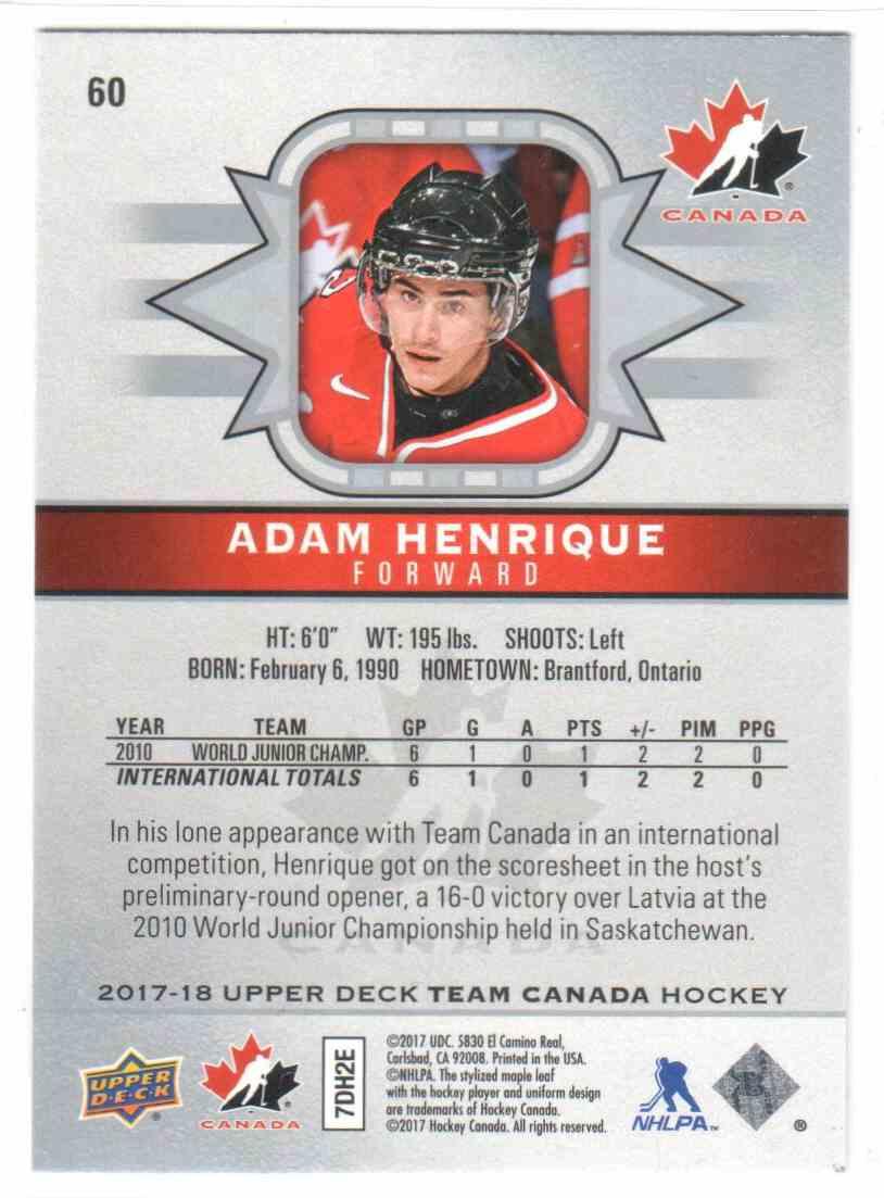 2017-18 Upper Deck Team Canada Canadian Tire Adam Henrique #60 card back image
