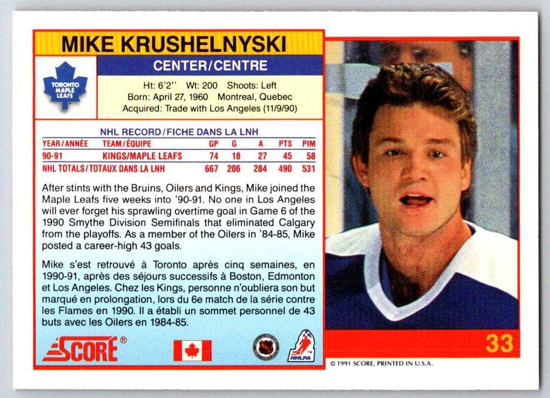 1991-92 Score Canadian Bilingual Mike Krushelnyski #33 card back image