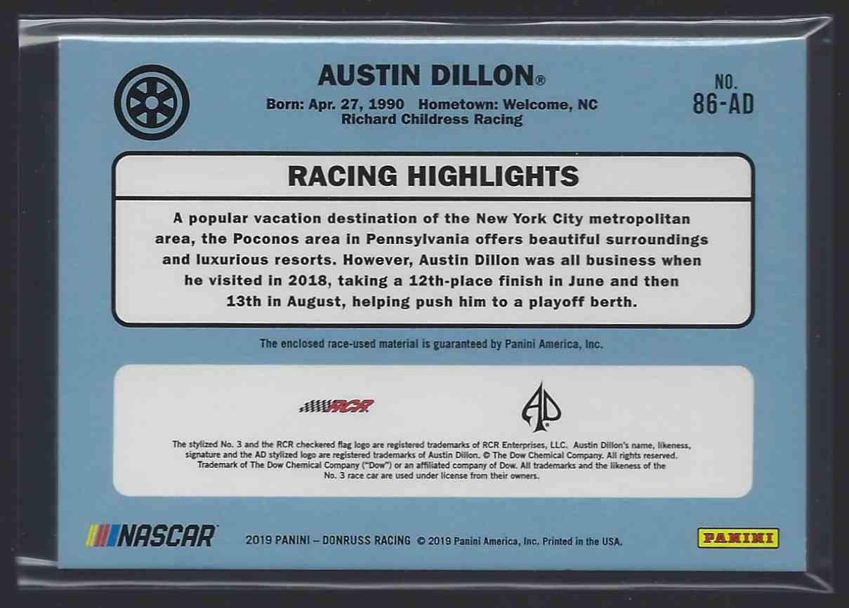 2019 Donruss Retro Relics '86 Austin Dillon #86AD card back image