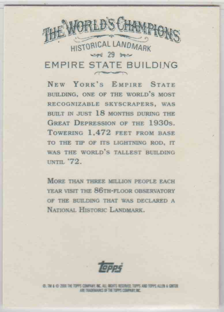 2008 Topps Allen And Ginter Empire State Building #29 card back image