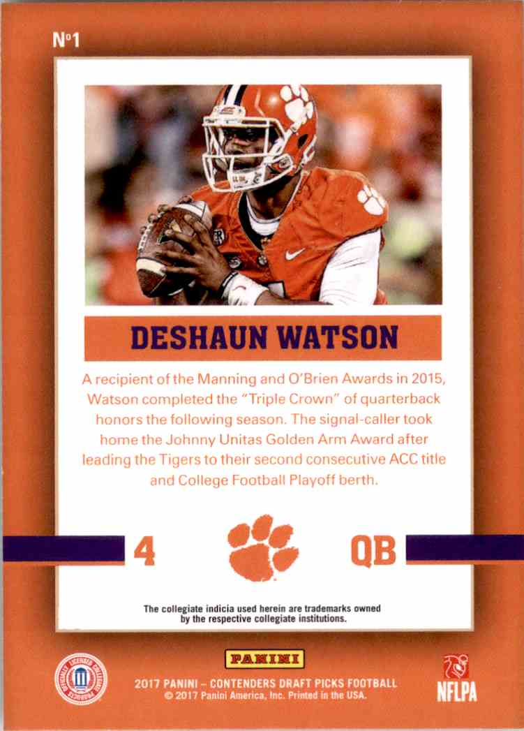 2017 Panini Contenders Draft Picks School Colors Deshaun Watson #1 card back image