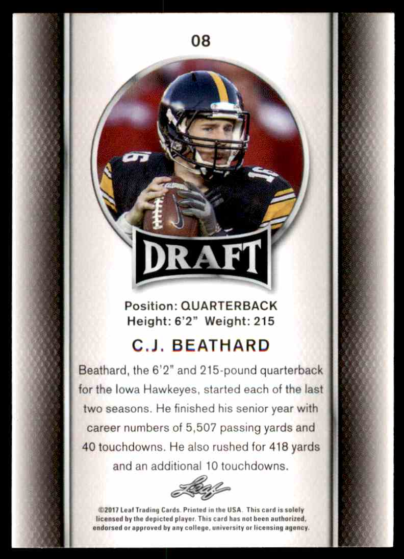 2017 Leaf Draft C.J. Beathard #08 card back image
