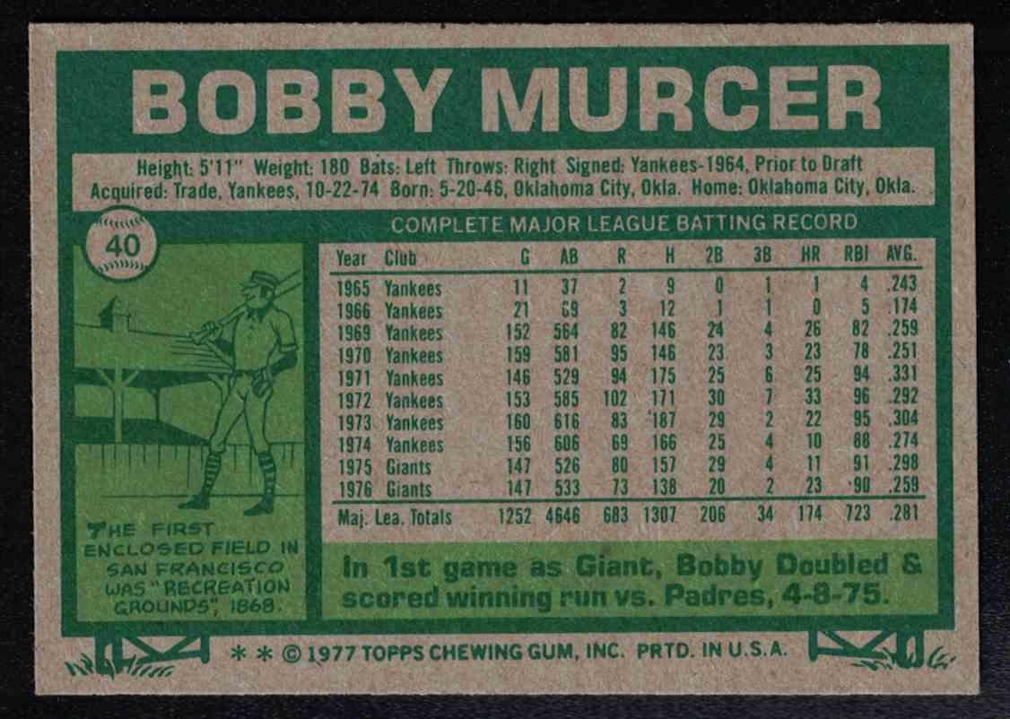 1977 Topps Bobby Murcer EX-MT #40 card back image