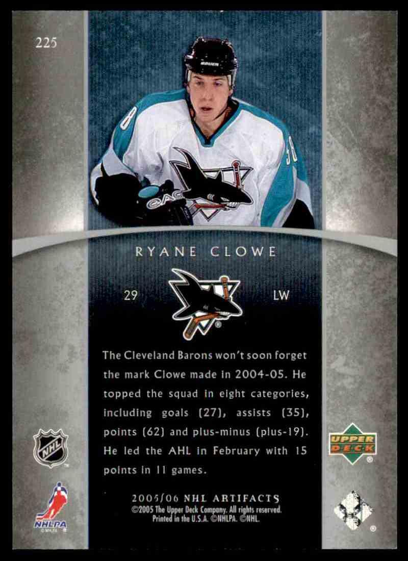 2005-06 Upper Deck Artifacts Ryane Clowe #225 card back image