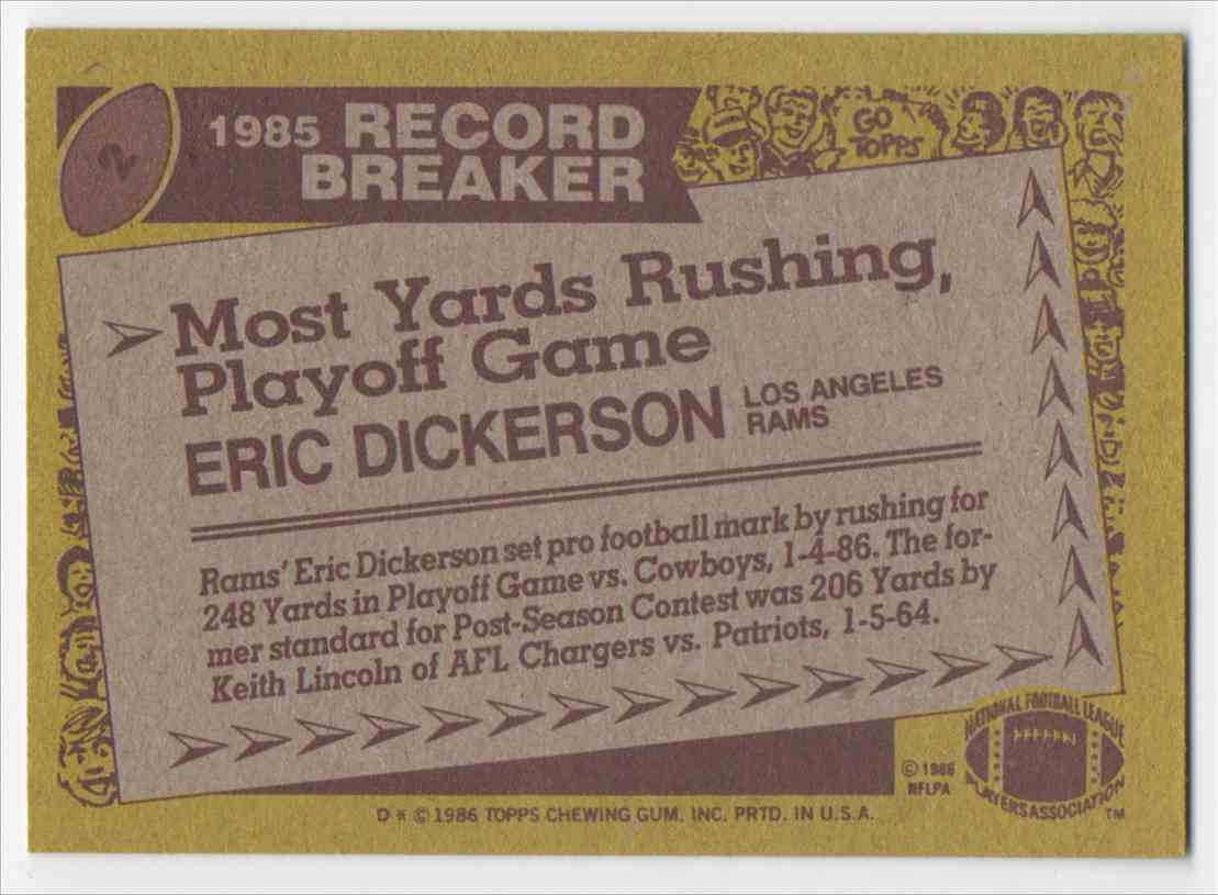 1986 Topps Eric Dickerson #2 card back image